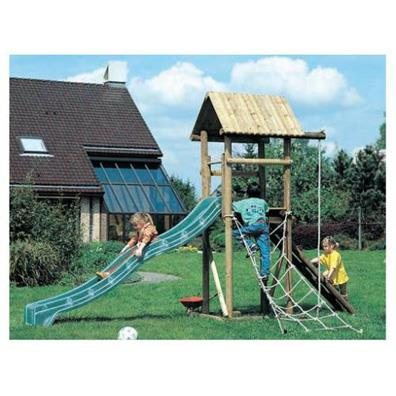 Houtland Playtower with slide from our children's Wooden Climbing Frames range