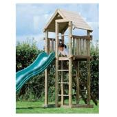 Houtland Clubhouse with slide from our children's Climbing Frames range