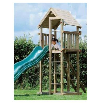 Houtland Clubhouse with slide from our children's Wooden Climbing Frames range