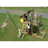 Houtland Adventure Tower with slide and single swing from our children's Garden Swings range