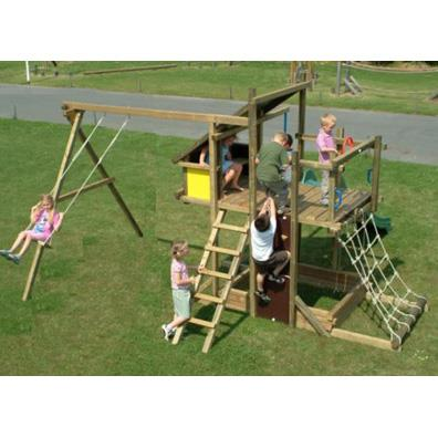 Houtland Adventure Tower with slide and single swing from our children's Climbing Frames with Swings range