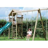 Houtland Clubhouse with slide and single swing from our children's Climbing Frames range