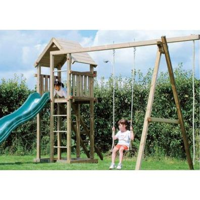 Houtland Clubhouse with slide and single swing from our children's Swings with Climbing Frames range
