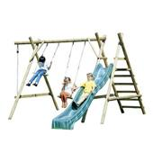 Houtland Double Swing with Ladder, Platform and Slide from our children's Wooden Garden Swing Frames range