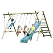 Houtland Triple swing with ladder, platform and slide from our children's Wooden Garden Swing Frames range