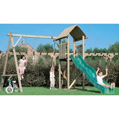 Houtland Playtower with slide and double swing from our children's Climbing Frames with Swings range