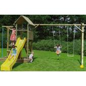 Houtland Multitower with slide and double swing from our children's Climbing Frames with Swings range
