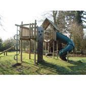 Langley®Tower Suspension Bridge and Langley®Fort with Turbo slide from our children's Climbing Frames range
