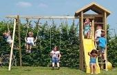 Houtland Watchtower with slide and double swing from our children's Garden Swings range