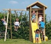 Houtland Watchtower with slide and single swing from our children's Garden Swings range