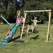 Langley Double Swing with ladder, platform and slide from our children's Stand alone slide sets range