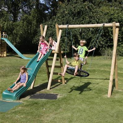 Langley Double Swing With Ladder Platform And Slide Stand Alone
