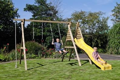 Houtland Double swing with ladder, platform and slide (square timber) from our children's Climbing Frames with Swings range