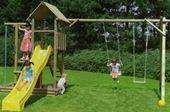 Houtland Multitower with slide and triple swing from our children's Garden Swings range