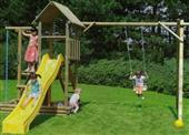 Houtland Multitower with slide and single swing from our children's Climbing Frames with Swings range