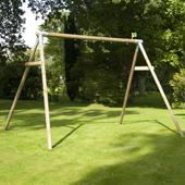 TP Triple Round wood Swing Frame from our children's Garden Swings range