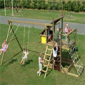 Houtland Adventure Tower with slide and double swing from our children's Garden Swings range