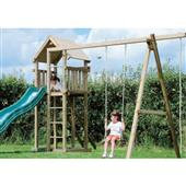 Houtland Clubhouse with slide and double swing from our children's Climbing Frames range