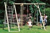 Houtland Single Swing with ladder and climbing net from our children's Garden Swings range