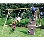 Houtland triple swing with ladder and climbing wall from our children's Wooden Garden Swing Frames range