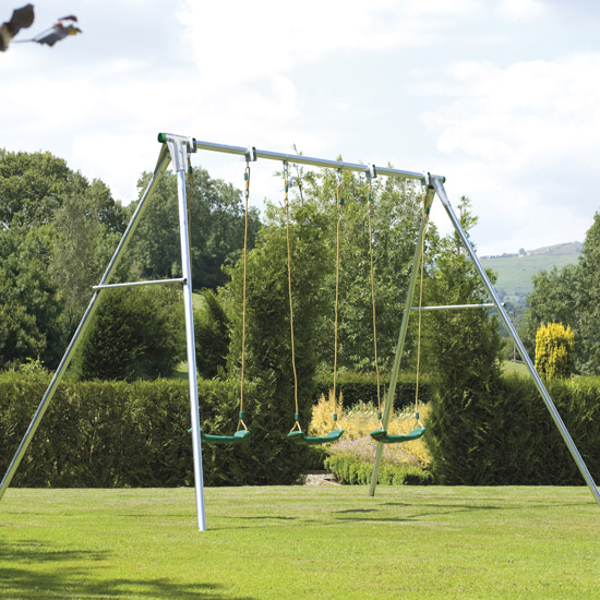 tp triple giant swing frame from our childrens metal garden swing frames range - Metal Swing Frame