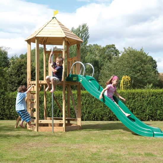 Tp Castlewood Tower With Crazy Wavy Slide And Double Swing