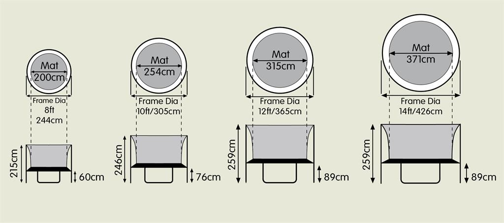 TP trampoline size guide